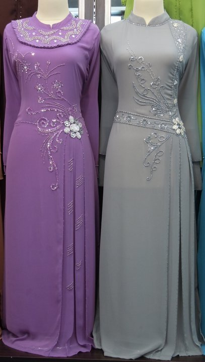 Purple Grey Muslim Women Dresses